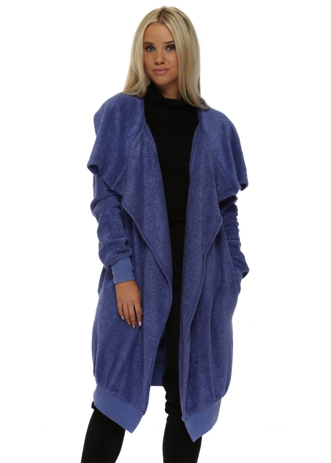 A Postcard From Brighton Courtney Poodle Wrap Coat In Indigo