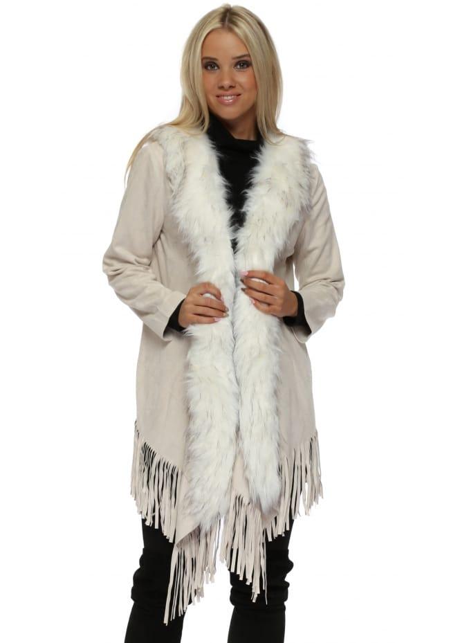 JayLey Ivory Suedette Fringe Jacket With Faux Fur Collar