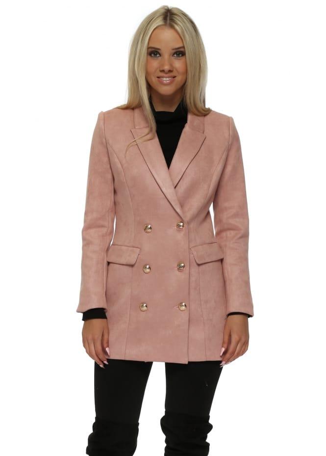 Drole de Copine Pink Nappa Suede Gold Button Blazer