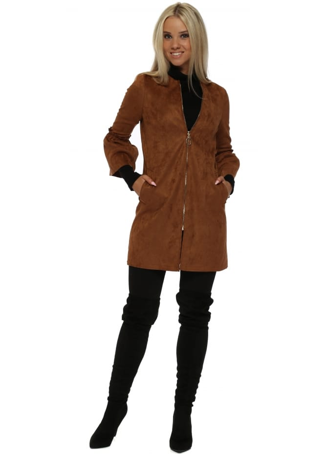 French Boutique Tan Nappa Suede Frill Cuff Coat