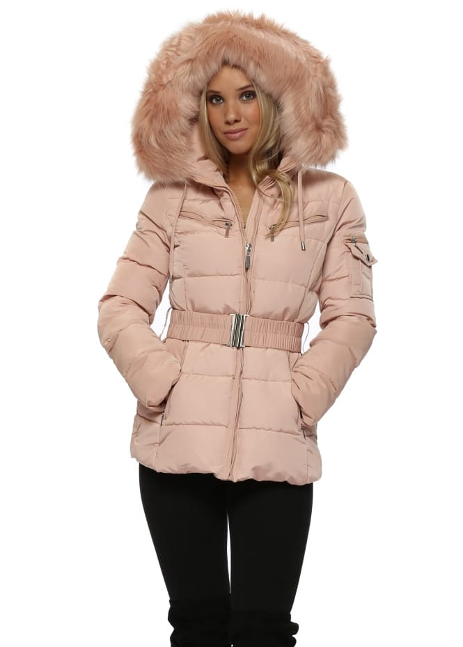 French Boutique Nude Pink Quilted Faux Fur Hooded Puffer Coat