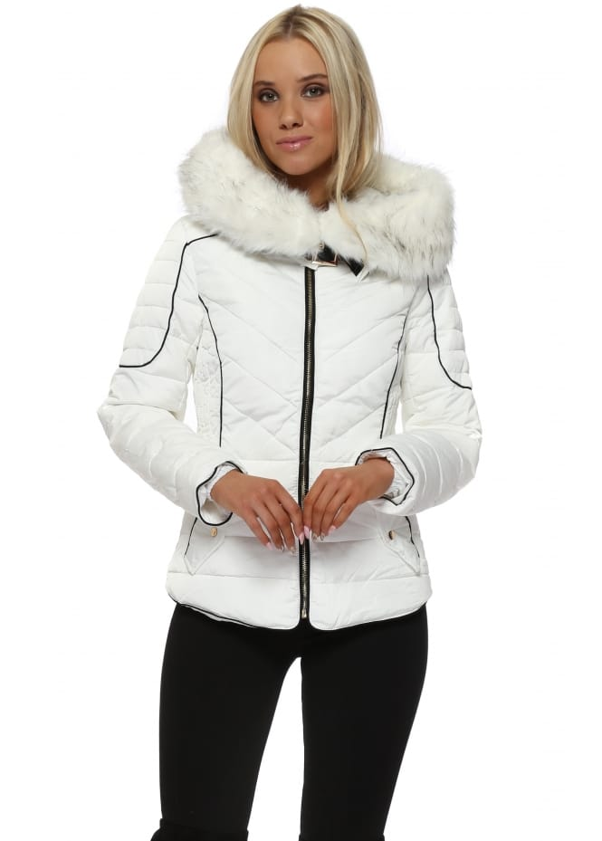 French Boutique Aspen White Faux Fur Hooded Quilted Jacket
