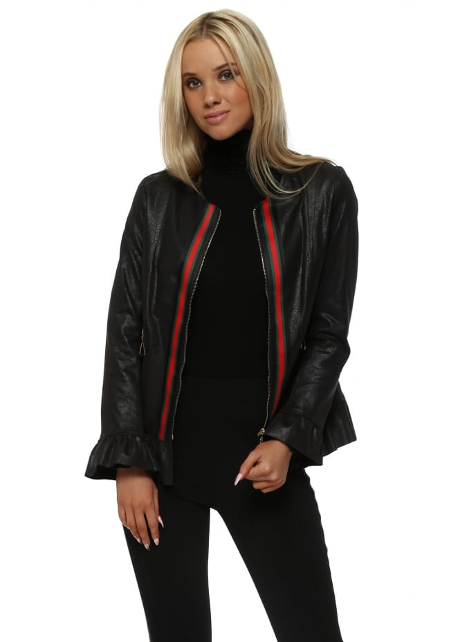 Jeff Gallano Black Faux Nappa Italian Ribbon Frill Jacket