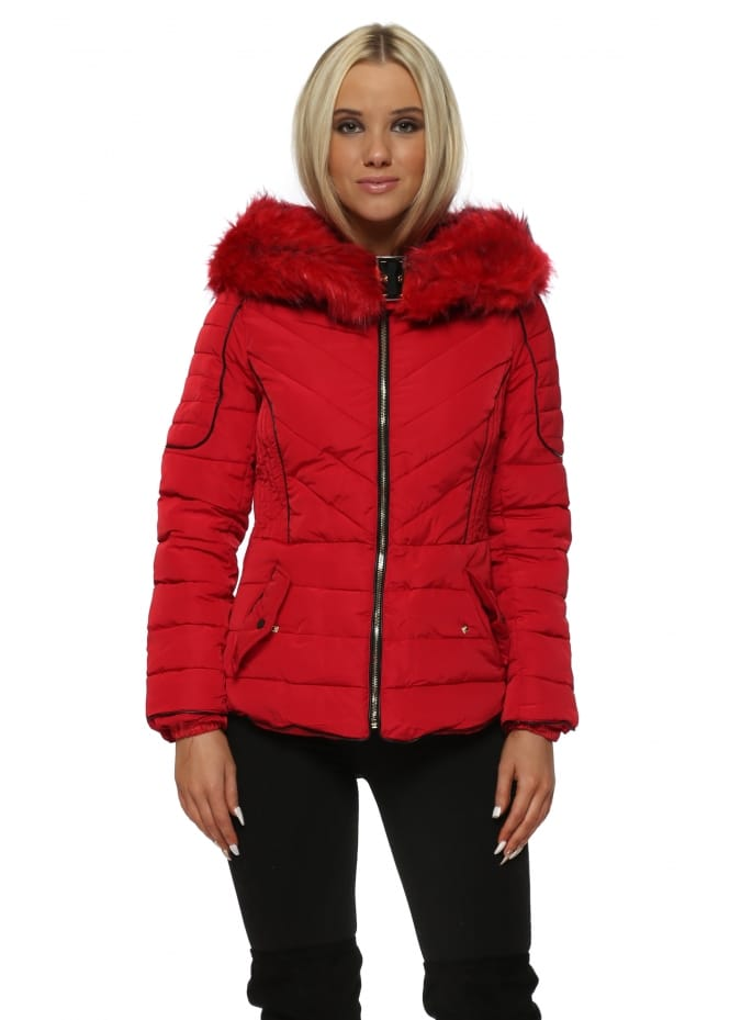 French Boutique Aspen Red Faux Fur Hooded Quilted Jacket