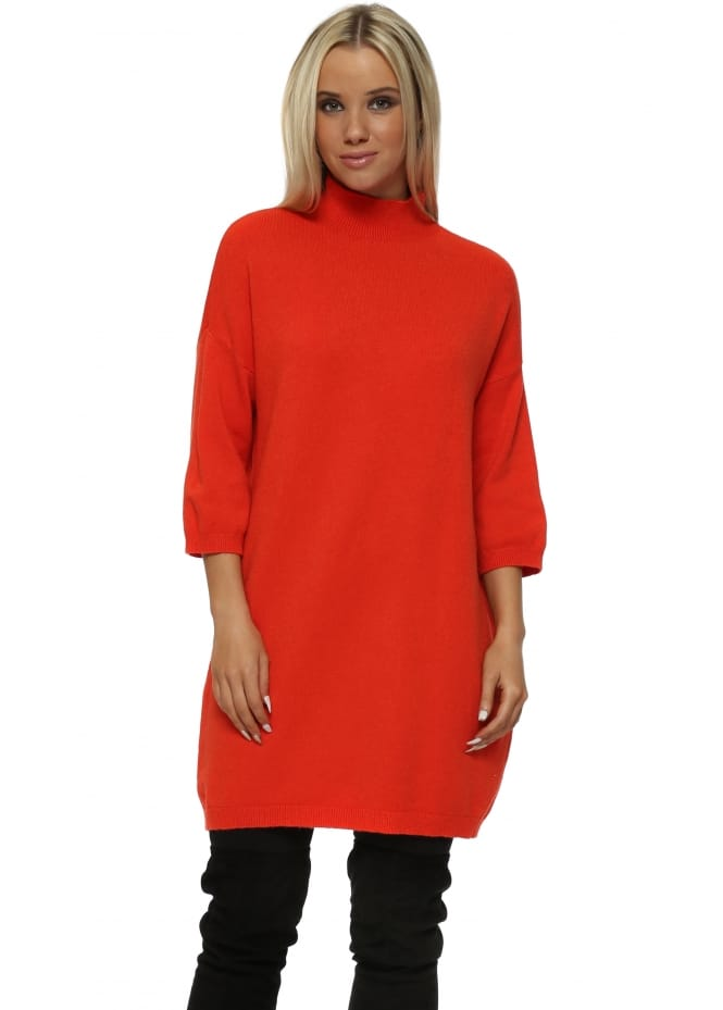 Sugar Babe Orange Polo Neck Shift Jumper Dress