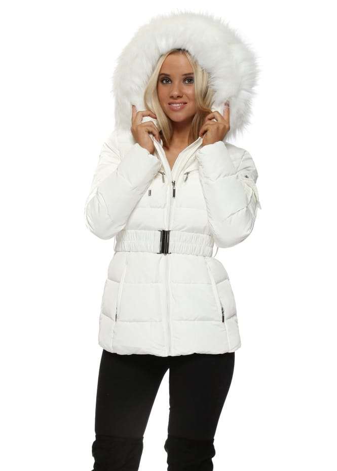 French Boutique White Quilted Faux Fur Hooded Puffer Coat