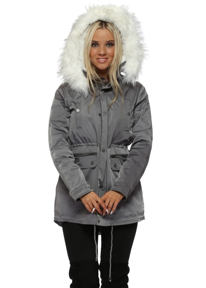 Drole de Copine Grey Parka Coat With Faux Fur Lining & Hood