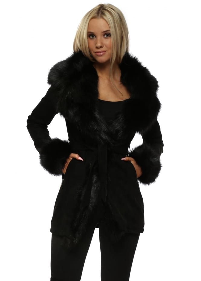 L'Olive Verte Faux Suede Coat With Oversized Black Faux Fur Collar & Cuffs