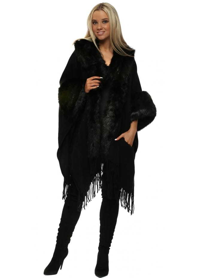 JayLey Black Fringed Cashmere Mix Cape With Faux Fur