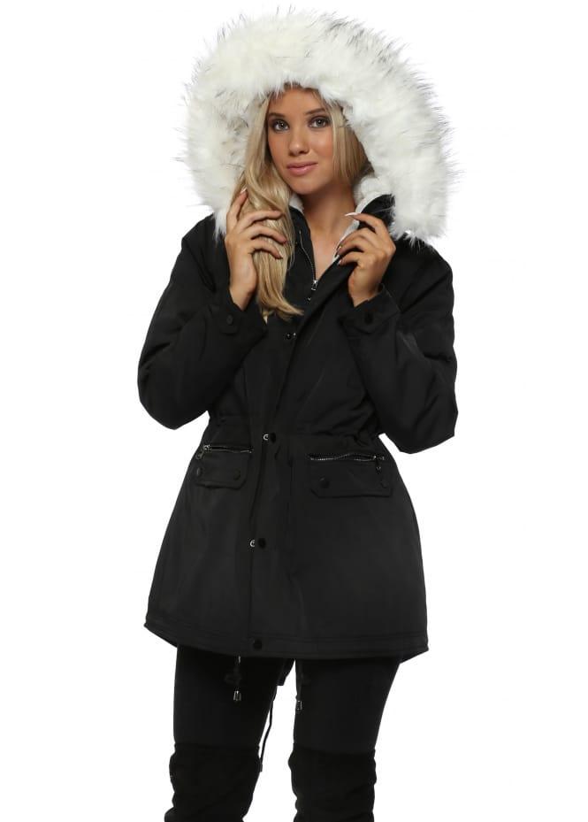 Drole de Copine Black Parka Coat With Faux Fur Lining & Hood