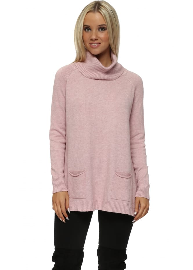 C Valentyne Baby Pink Polo Neck Two Pocket Slouch Jumper