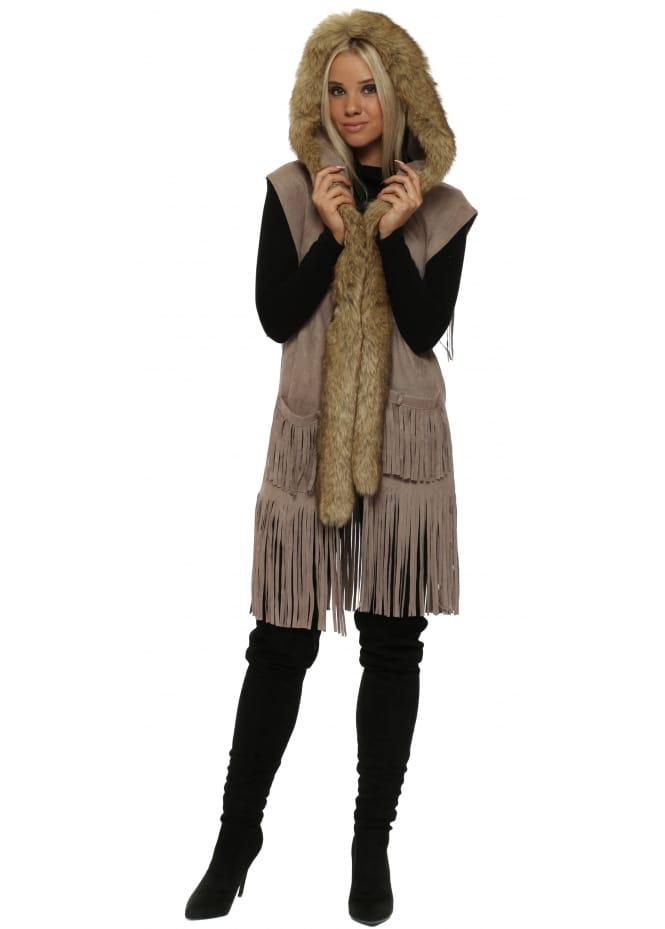 JayLey Mocha Suedette Faux Fur Sleeveless Hooded Jacket