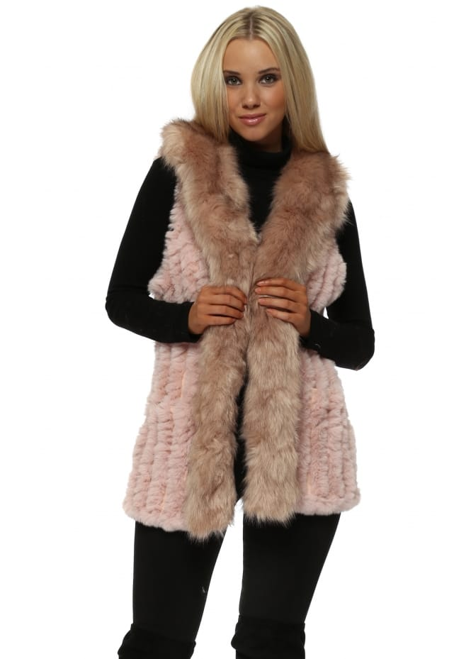 JayLey Luxe Pink Knitted Faux Fur Long Suede Gilet