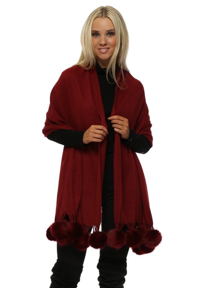 JayLey Burgundy Cashmere Faux Fur Pom Pom Wrap