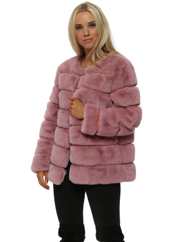 French Boutique Pink Panelled Luxe Faux Fur Coat