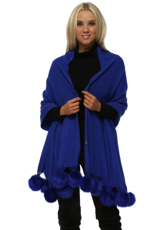 JayLey Cobalt Blue Cashmere Faux Fur Pom Pom Wrap