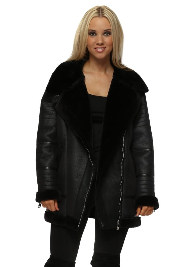 French Boutique Black Luxurious Faux Shearling Aviator Jacket