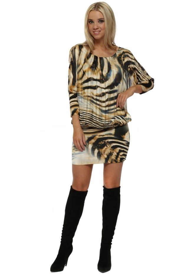 Troiska Black Animal Print Bandeau Hem Mini Dress