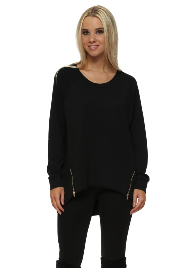 A Postcard From Brighton Simone Black Zip Dip Hem Sweater