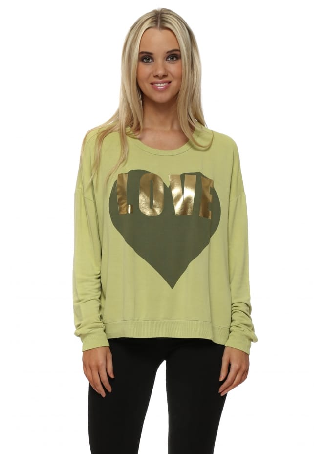 A Postcard From Brighton Golden Lime Gold Foil Love Logo Sweater