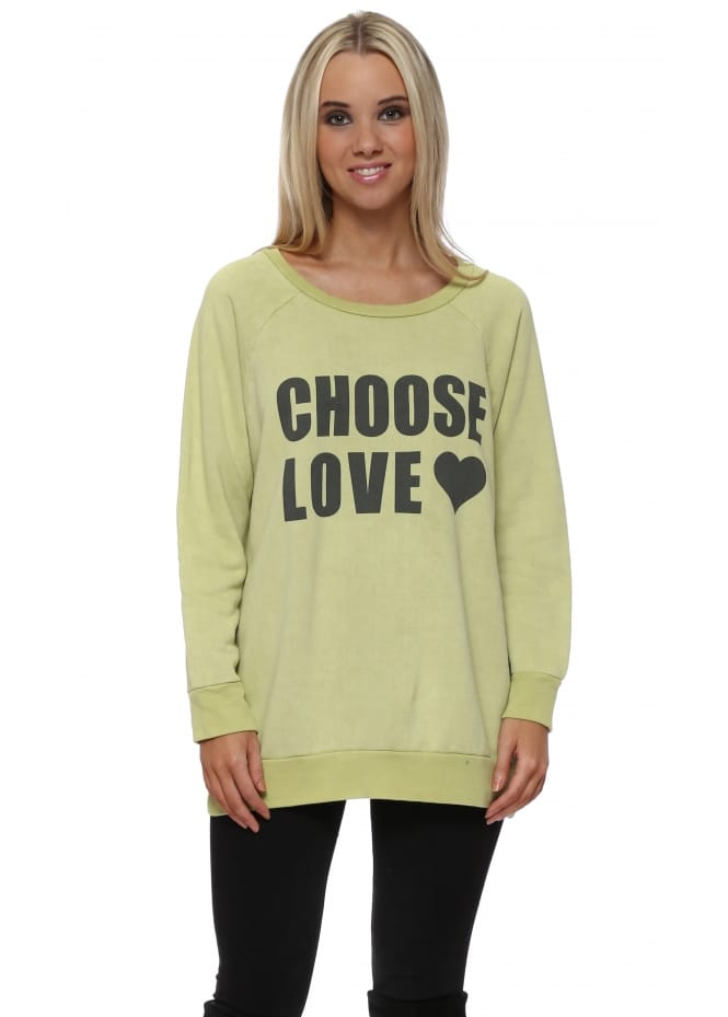 A Postcard From Brighton Golden Lime Choose Love Logo Sweater