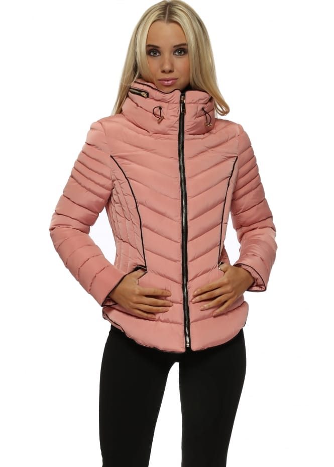 French Boutique Rose Pink Faux Fur Funnel Neck Puffer Jacket