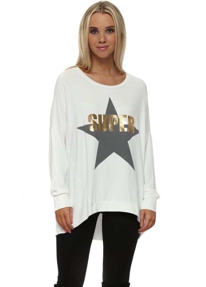 A Postcard From Brighton Vanilla Ice Gold Foil Super Star Logo Sweater