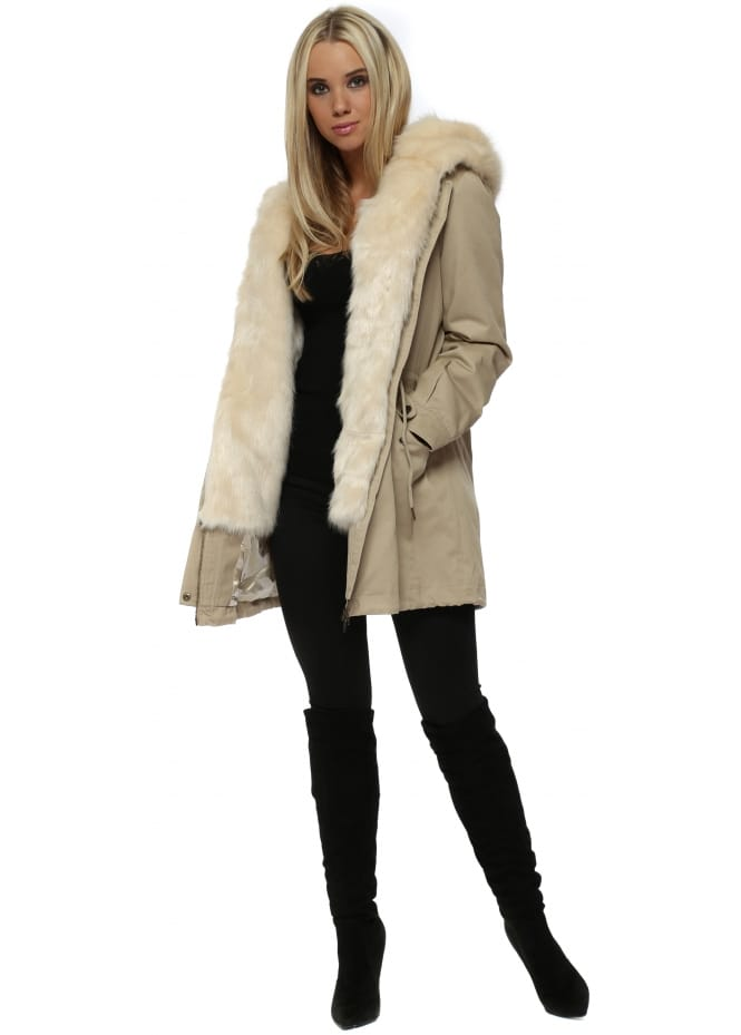 Faux London Cream Parka With Detachable Cream Faux Fur Gilet