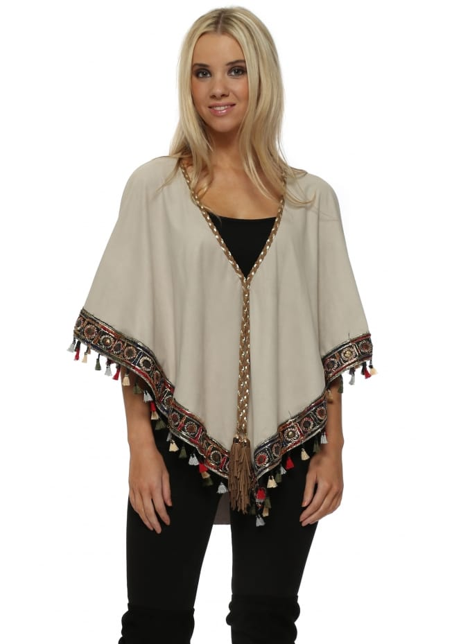 My Story Beige Suede Multi Coloured Tassel Boho Trim Short Poncho