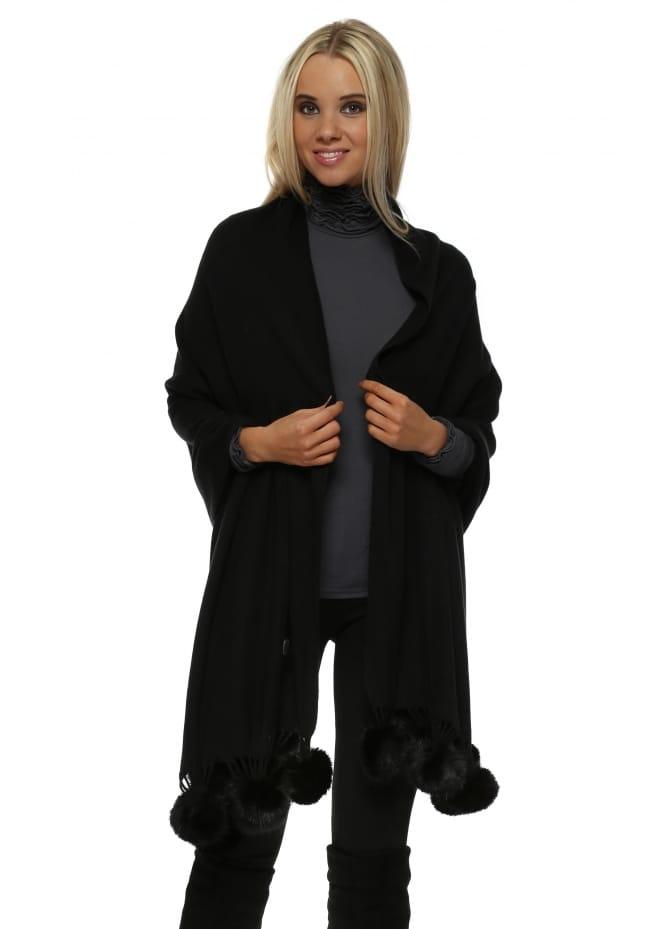JayLey Black Cashmere Faux Fur Pom Pom Wrap