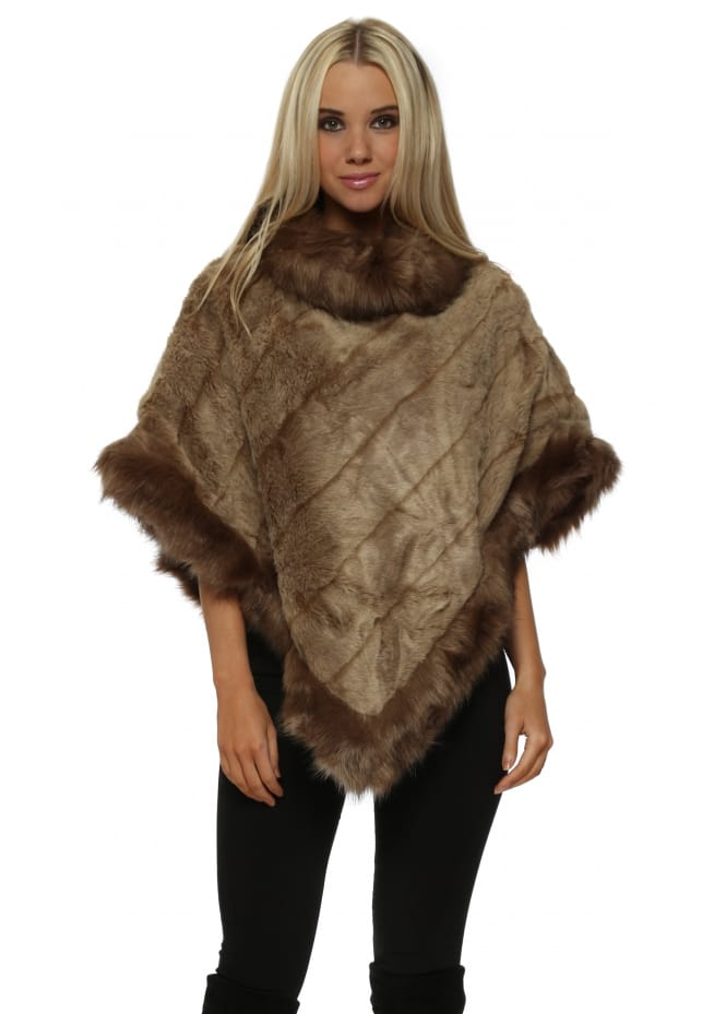 JayLey Luxury Mocha Faux Fur Poncho