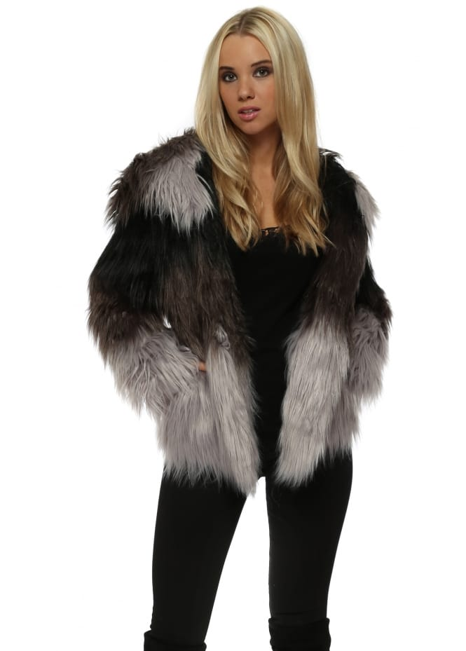 Faux London Black & Grey Faux Fur Hooded Jacket