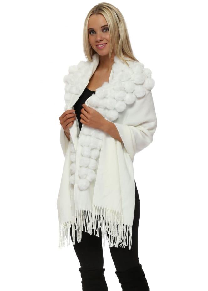 JayLey Cream Cashmere Mix Faux Fur Pom Pom Wrap