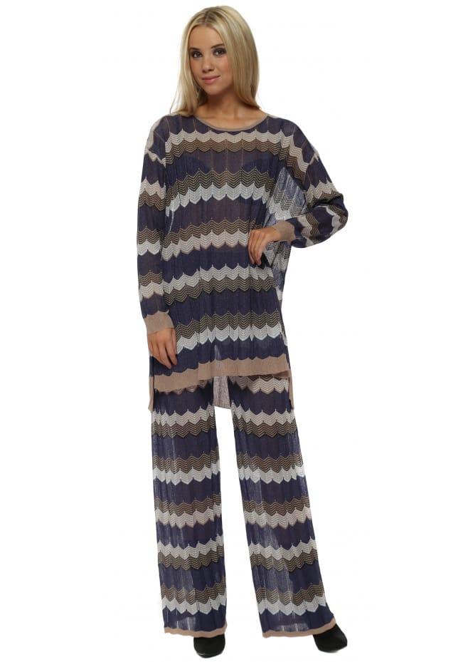 Laetitia Mem Blue Zig Zag Knit Jumper & Pants Lounge Set