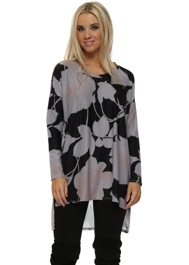 A Postcard From Brighton Bea Dim Grey Blooming Lovely Chiffon Back Tunic Top