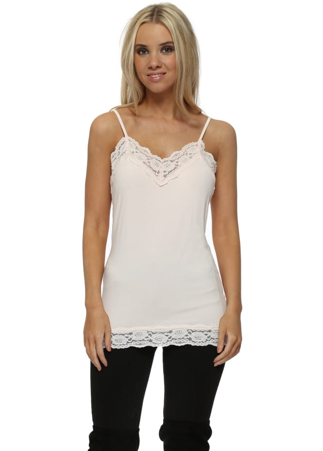 A Postcard From Brighton Ling Ling Lace Trim Strappy Vest In Milk Pink