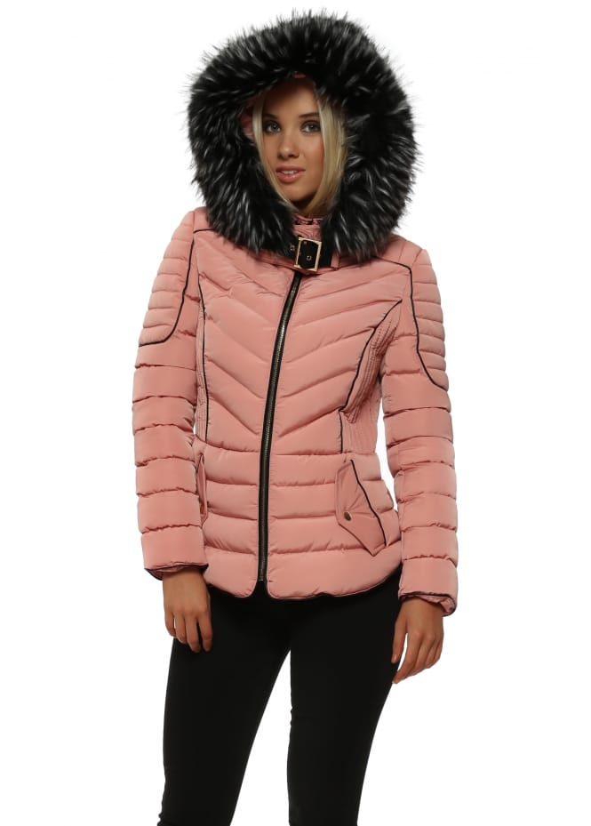 French Boutique Rose Pink Faux Fur Hooded Puffer Jacket