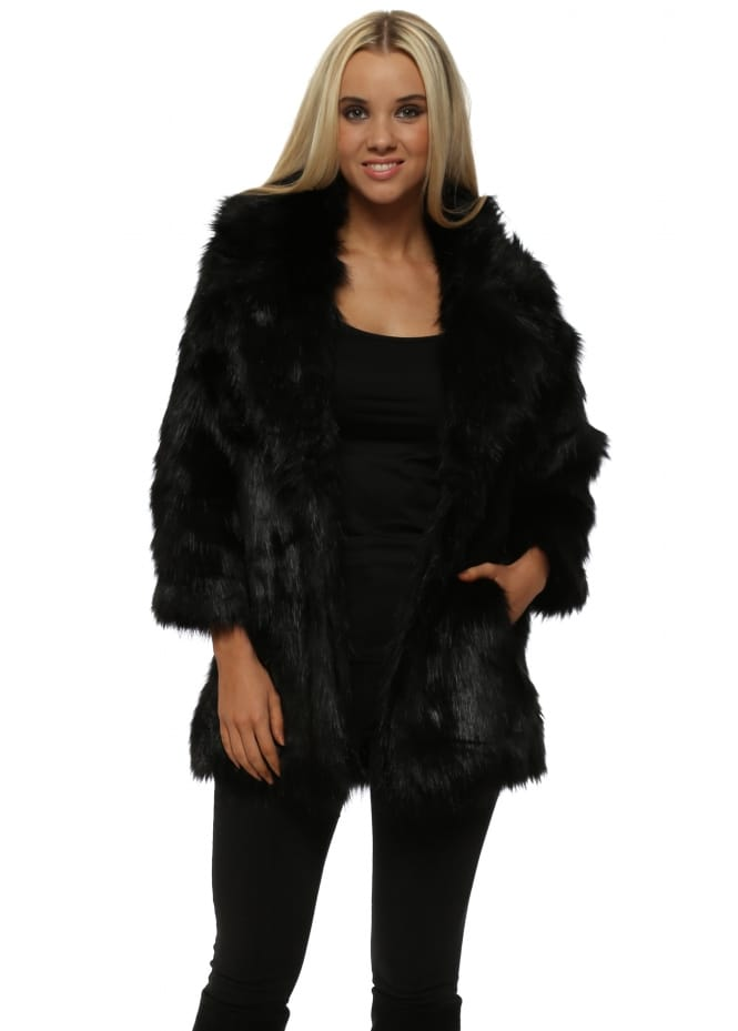 French Boutique Black Faux Fur Fluffy Coat