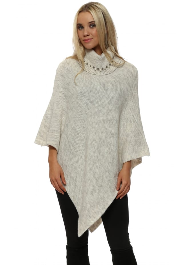 French Boutique Cream Pearl Embellished Polo Neck Poncho
