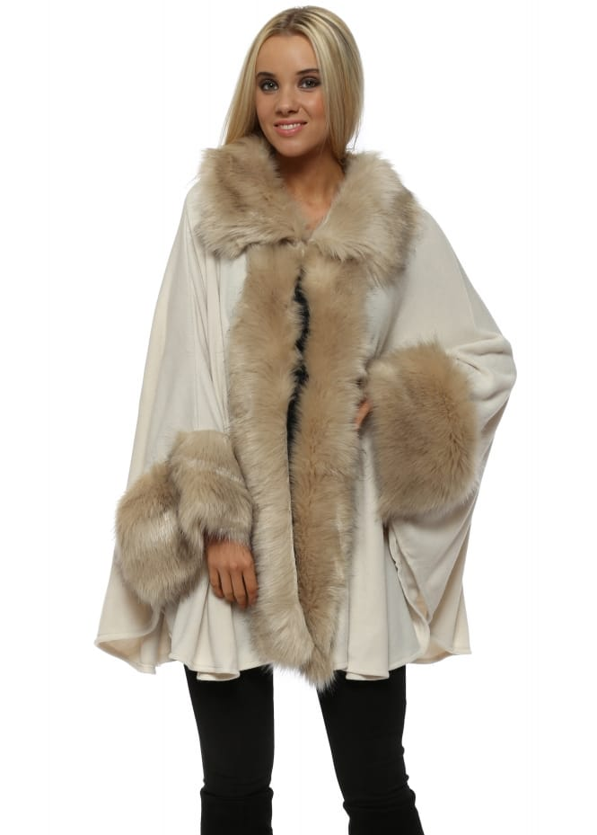 JayLey Luxurious Cream Faux Fur Cape Coat