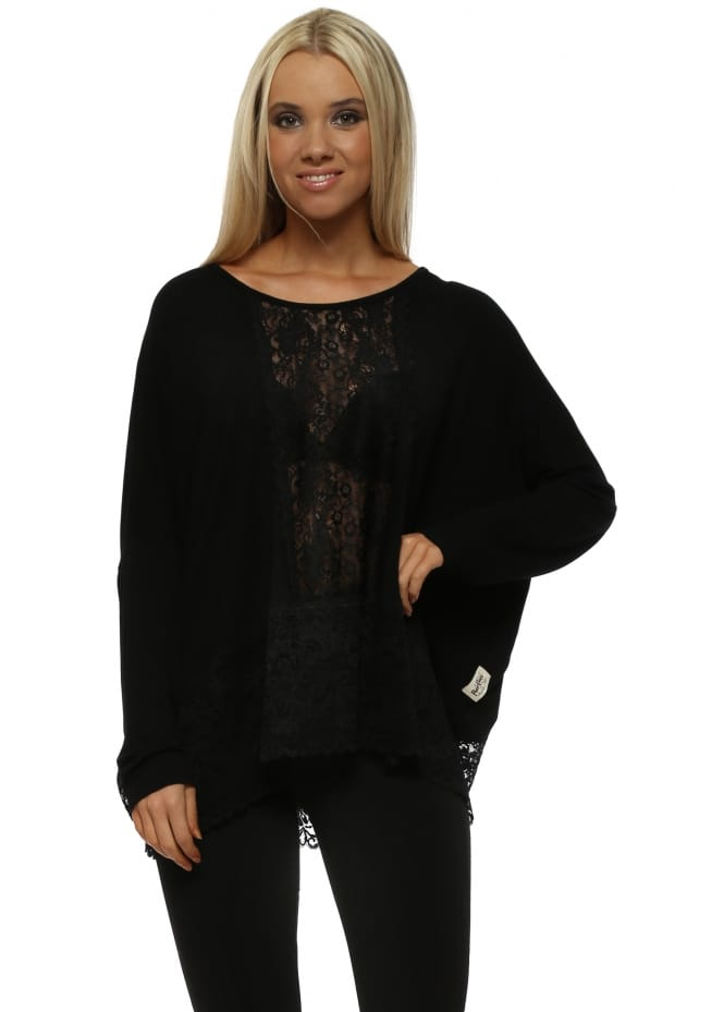 A Postcard From Brighton Binkie Black Lace Insert Long Sleeve Slouch Top