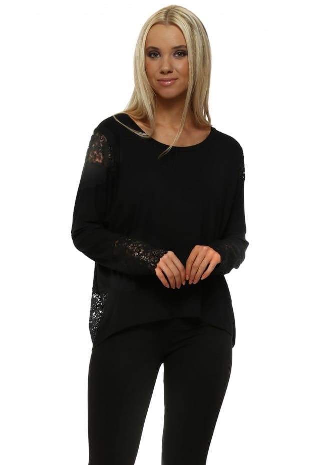 A Postcard From Brighton Eve Black Lace Long Sleeve Insert Karma Top