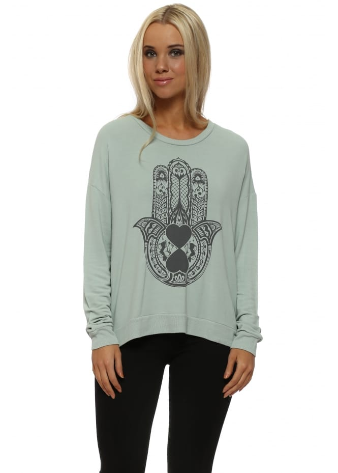 A Postcard From Brighton Hamsa Hand Sweater In Winter Sea