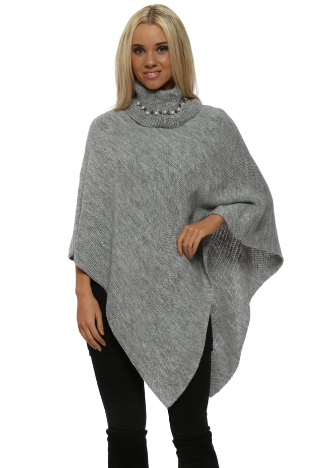 French Boutique Grey Pearl Embellished Polo Neck Poncho