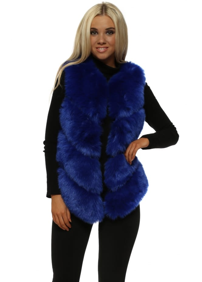 Amo Couture Bella Cobalt Blue Luxe Tiered Faux Fur Gilet