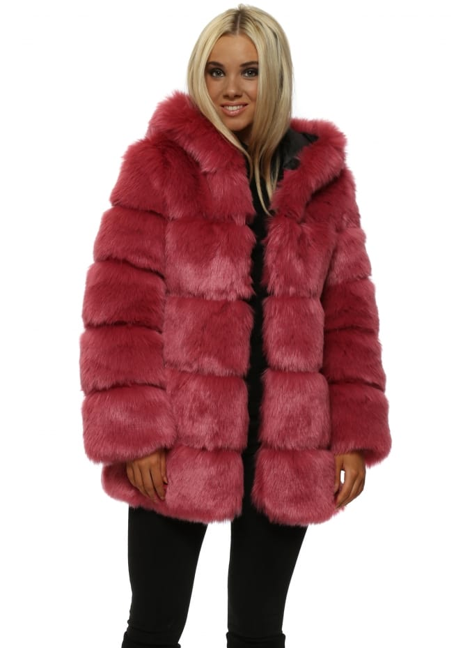 Amo Couture Rubens Winter Pink Hooded Luxe Faux Fur Coat