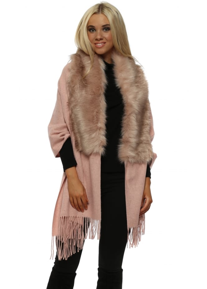 French Boutique Pink Faux Fur Tassel Shawl