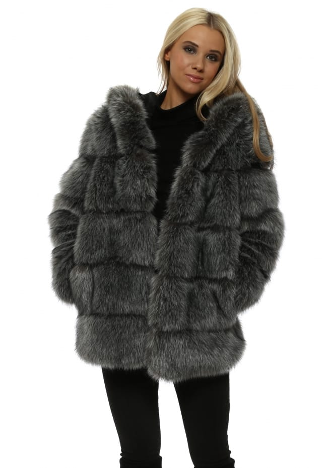 Amo Couture Rubens Silver Fox Hooded Luxe Faux Fur Coat