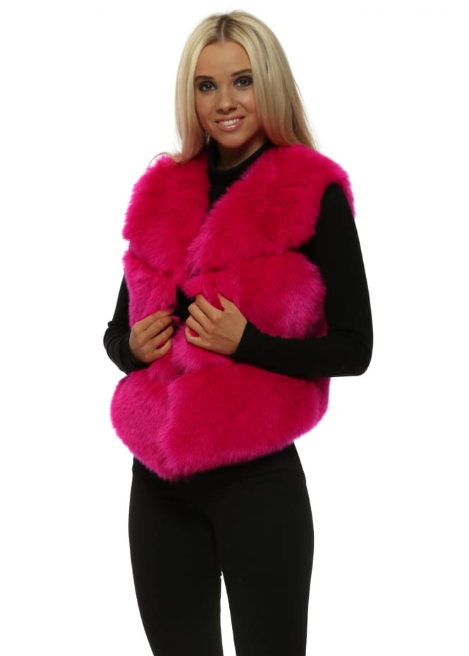 Amo Couture Hollywood Cerise Luxe Tiered Faux Fur Gilet