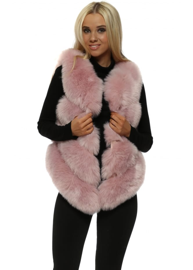 Amo Couture Bella Dusky Pink Luxe Tiered Faux Fur Gilet